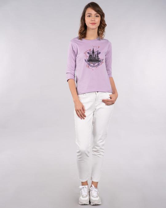 Shop Hogwarts Lilac Round Neck 3/4th Sleeve T-Shirt (HPL)-Full