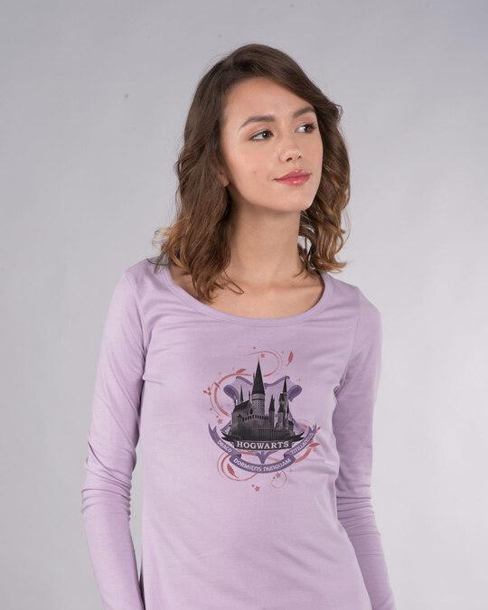 Shop Hogwarts Lilac Scoop Neck Full Sleeve T-Shirt (HPL)-Front