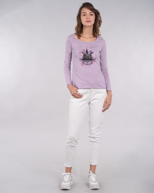 Shop Hogwarts Lilac Scoop Neck Full Sleeve T-Shirt (HPL)-Design