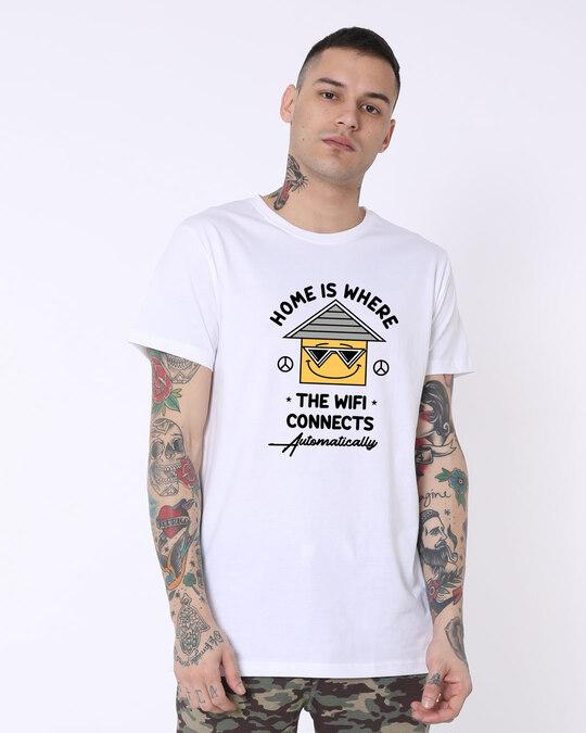 Shop Home Wifi Half Sleeve Longline T-Shirts White -Front