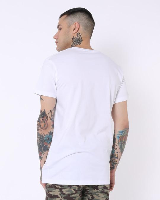 Shop Home Wifi Half Sleeve Longline T-Shirts White -Back