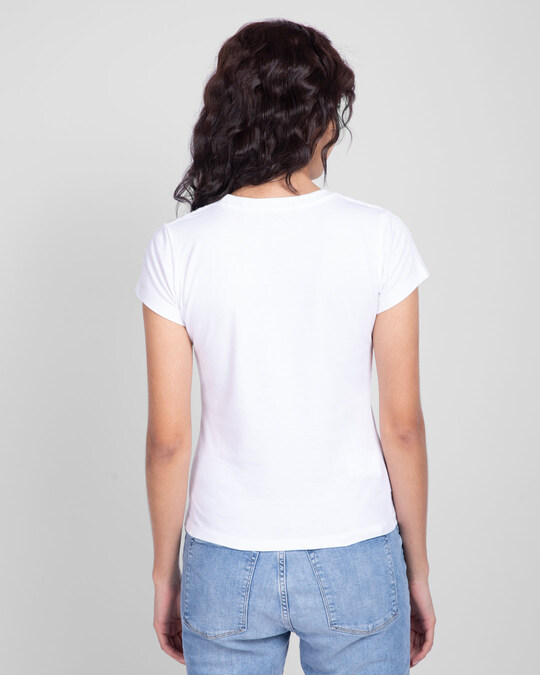 Shop Hope Feather Half Sleeve T-Shirt White-Back
