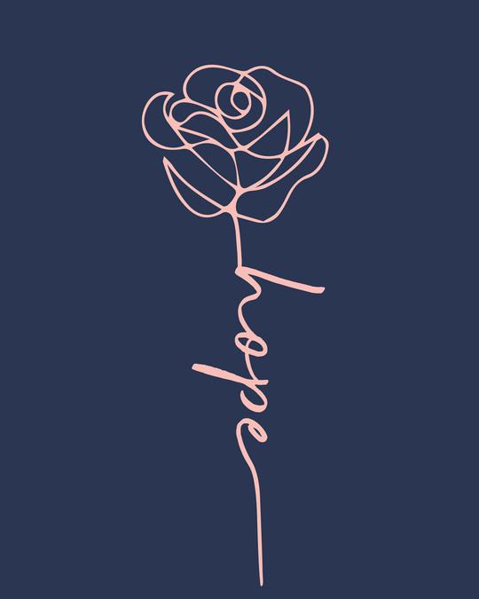 Shop Hope Flower Half Sleeve T-Shirt-Full
