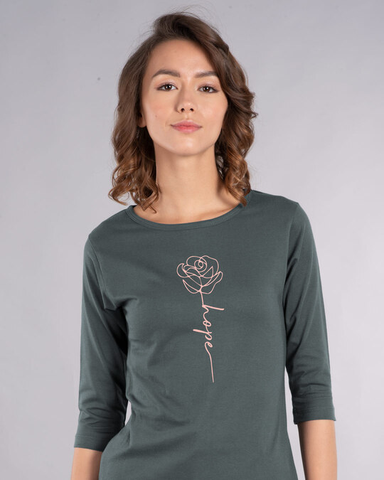 Shop Hope Flower Round Neck 3/4th Sleeve T-Shirt-Front