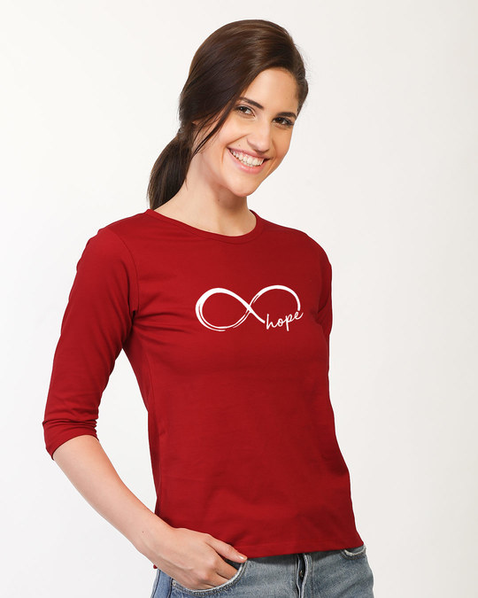 Shop Hope Infinity Round Neck 3/4th Sleeve T-Shirt-Back