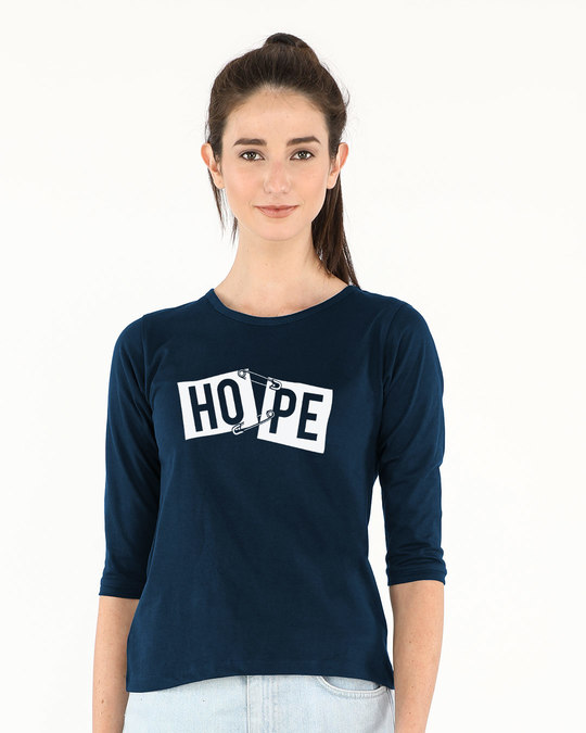 Shop Hope Pin Round Neck 3/4th Sleeve T-Shirt-Front