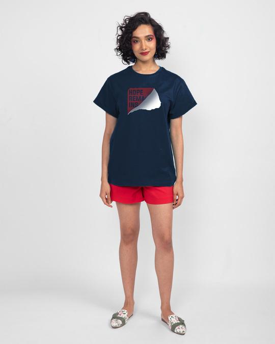 Shop Hope Tear Boyfriend T-Shirt Navy Blue-Full