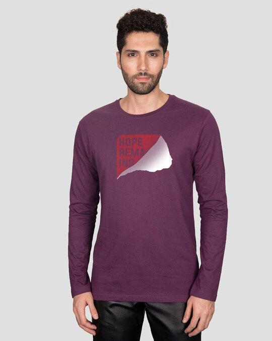 Shop Hope Tear Full Sleeve T-Shirt Deep Purple-Back
