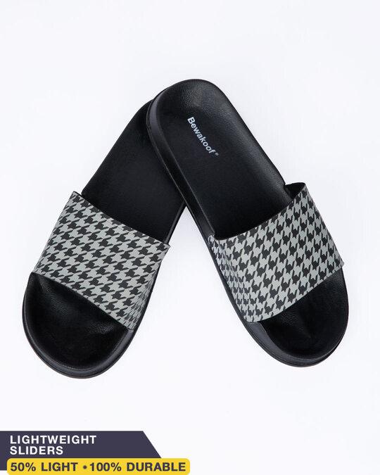 Shop Houndstooth Pattern Lightweight Men's Slider-Front