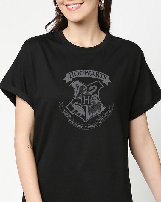 Shop HP Crest Boyfriend T-Shirts Black  (HPL)-Back