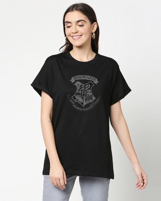 Shop HP Crest Boyfriend T-Shirts Black  (HPL)-Front