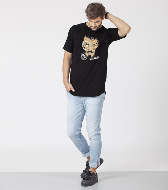 Shop HUD Half Sleeve Longline T-Shirts Black (AVL) (GID)