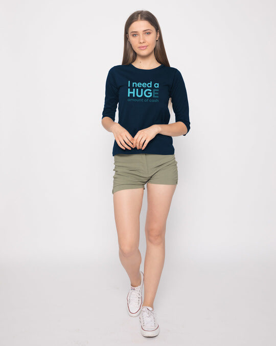 Shop Huge Amount Of Cash Round Neck 3/4th Sleeve T-Shirt
