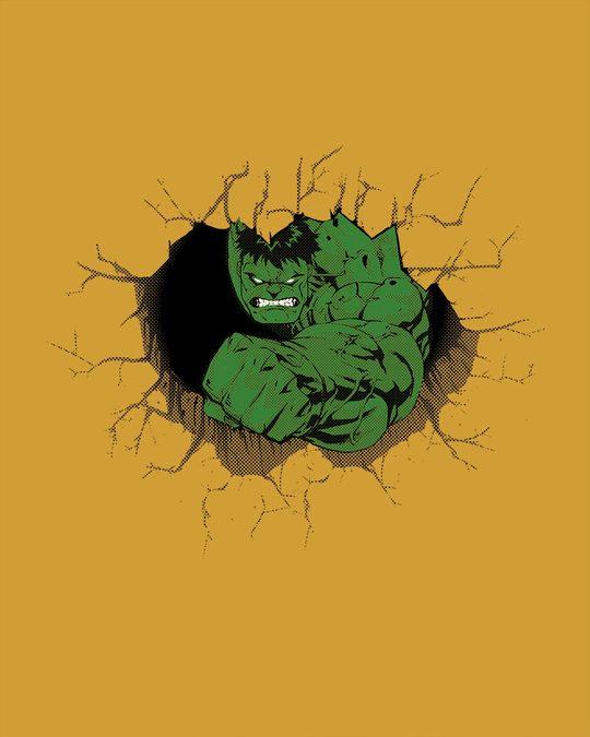 Shop Hulk Smash Wall Half Sleeve T-Shirt (AVL)