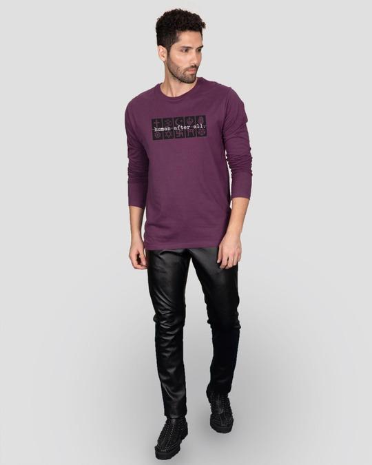 Shop Human After All Full Sleeve T-Shirt Deep Purple-Design