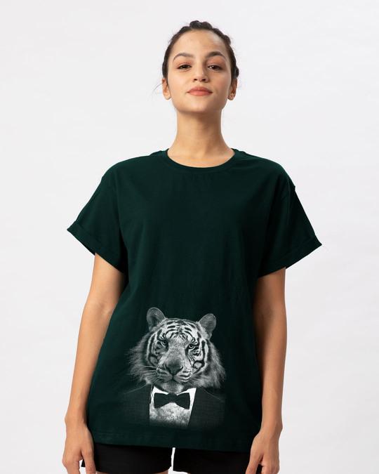 Shop Humanized Tuxedo Tiger Boyfriend T-Shirt-Front