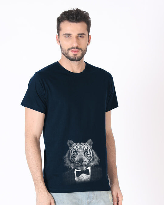 Shop Humanized Tuxedo Tiger Half Sleeve T-Shirt-Full