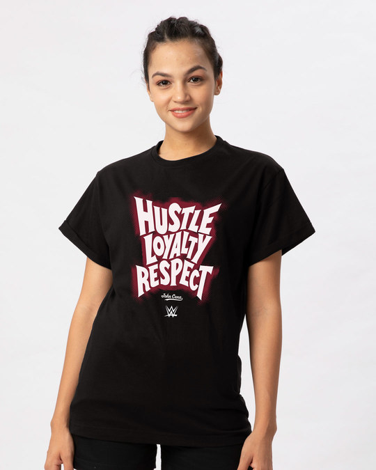 Shop Hustle Respect Boyfriend T-Shirt (WWEL)-Front