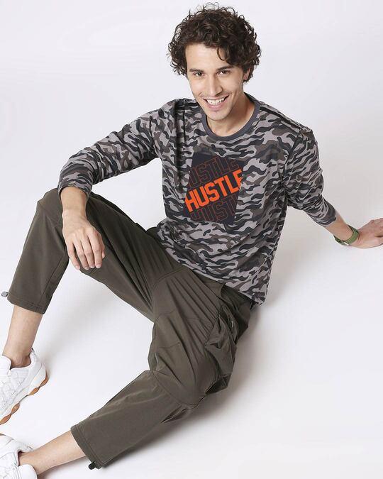 Shop Hustler ! Men's Full Sleeve Side Panel T-Shirt-Full