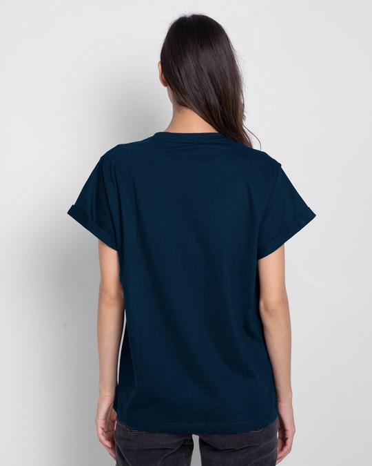 Shop I Am The Trouble Boyfriend T-Shirt (TJL) Navy Blue-Back