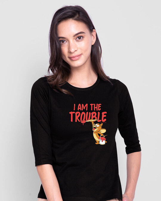 Shop I Am The Trouble Round Neck 3/4th Sleeve T-Shirt (TJL) Black-Back