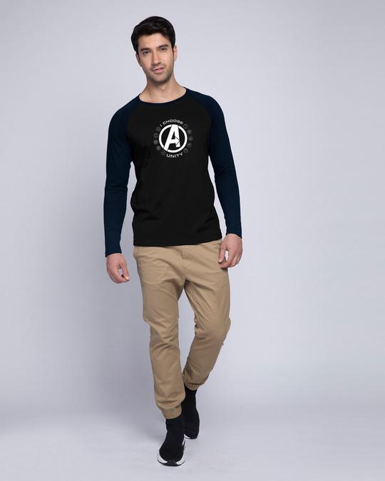 Shop I Choose Unity Full Sleeve Raglan T-Shirt (AVL) Navy Blue-Black-Full