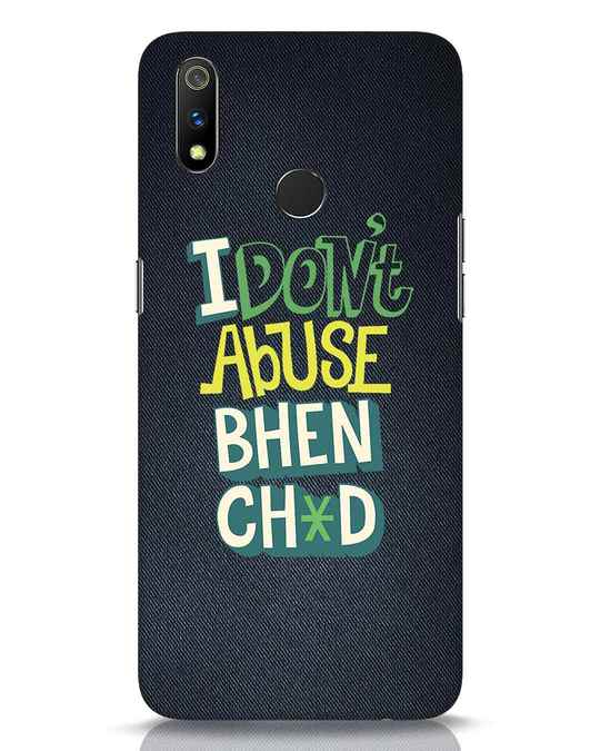 Shop I Dont Abuse Realme 3 Pro Mobile Cover-Front