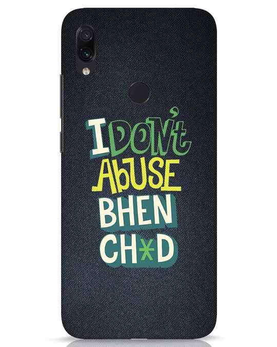 Shop I Dont Abuse Xiaomi Redmi Note 7s Mobile Cover-Front