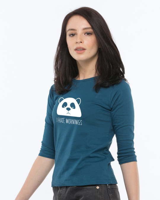 Shop I Hate Mornings Round Neck 3/4th Sleeve T-Shirt-Full