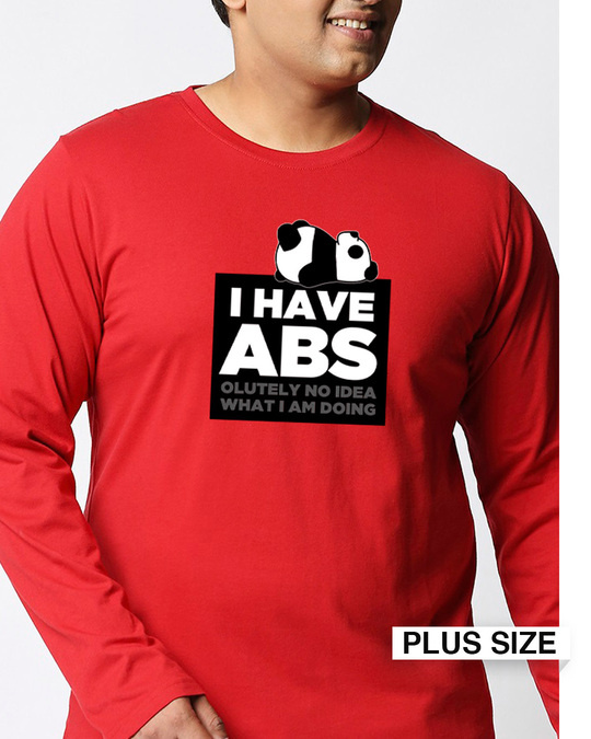 Shop I Have Abs Full Sleeves Plus Size T-Shirt-Front