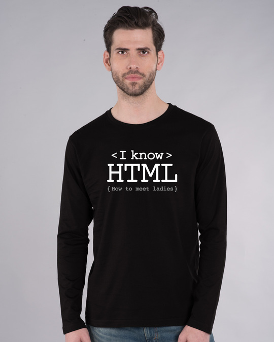 Shop I Know Html Full Sleeve T-Shirt-Front