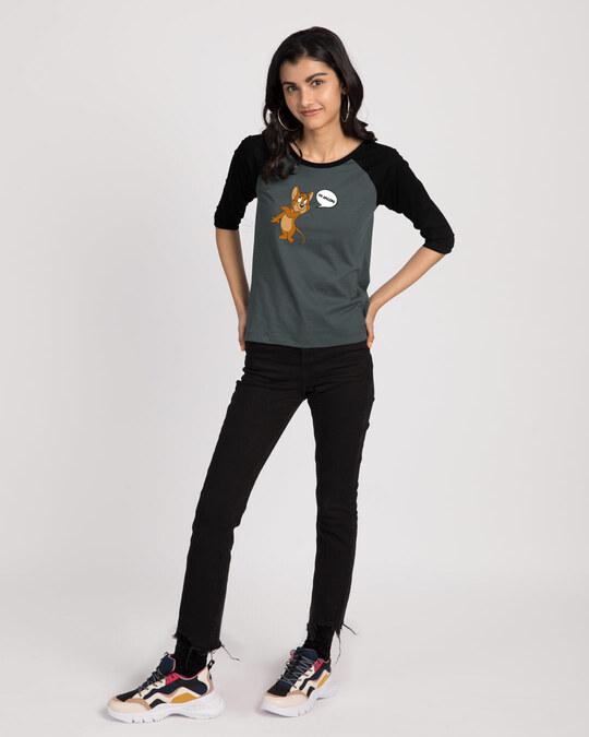 Shop I'm Amazing  Round Neck 3/4 Sleeve Raglan T-Shirts Black-Nimbus Grey (TJL)-Full