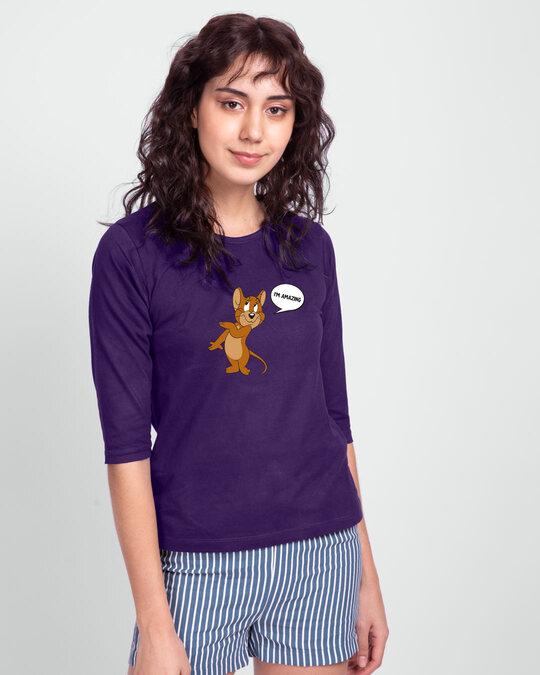 Shop I'm Amazing  Round Neck 3/4 Sleeve T-Shirts Parachute Purple (TJL)-Back