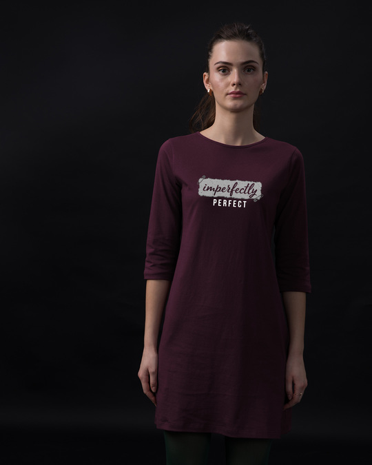 Shop I'm Perfect Boat Neck 3/4th Sleeve T-Shirt Dress-Front