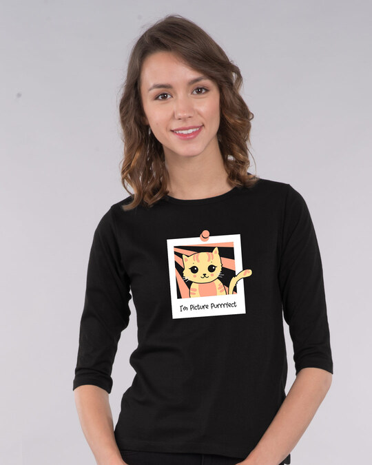Shop I'm Picture Purrrfect 3/4th Sleeve T-Shirt-Front