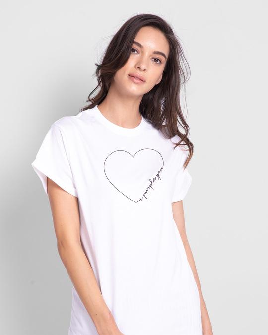 Shop I Purple You Heart Boyfriend T-Shirt White-Front