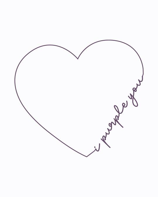 Shop I Purple You Heart Boyfriend T-Shirt White-Full