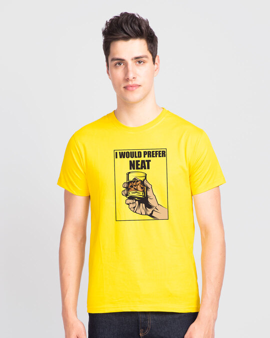 Shop I Would Prefer Neat Half Sleeve T-Shirt Pineapple Yellow -Front