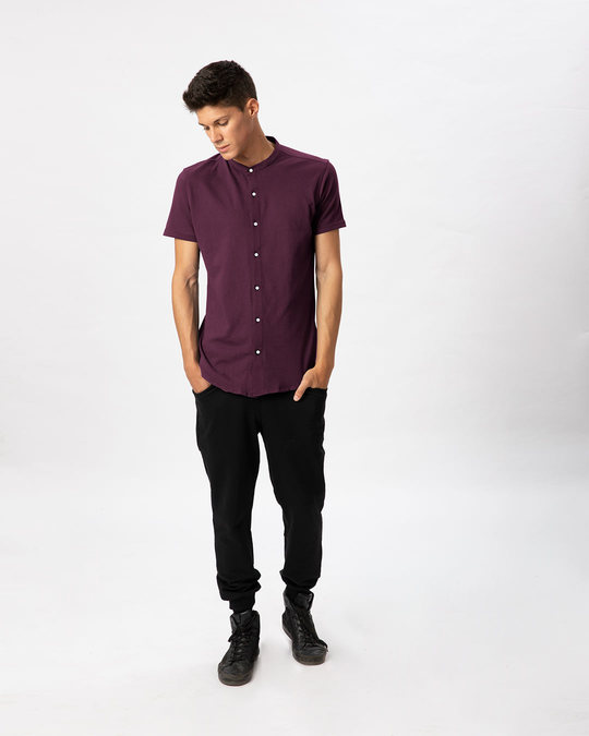Shop Ibiza Purple Mandarin Collar Pique Shirt