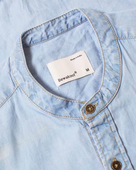 Shop Ice Blue Denim Henley T-Shirt