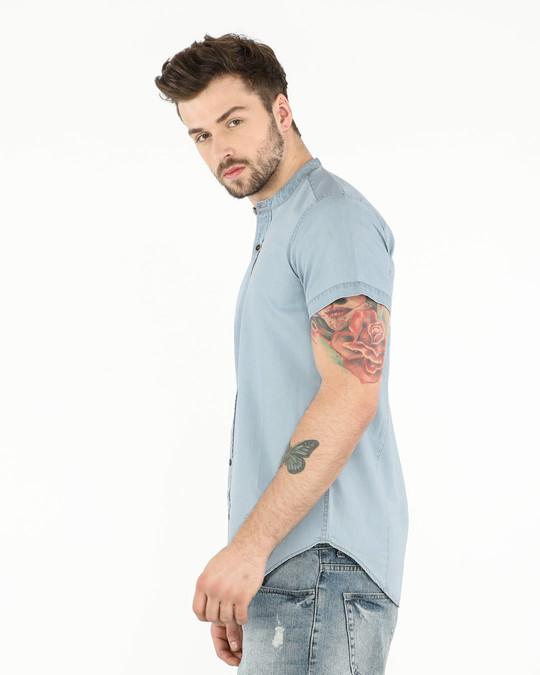Shop Ice Blue Mandarin Collar Denim Half Sleeve Shirt-Full