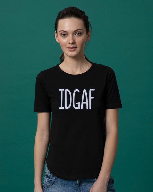Shop Idgaf Basic Round Hem T-Shirt-Front
