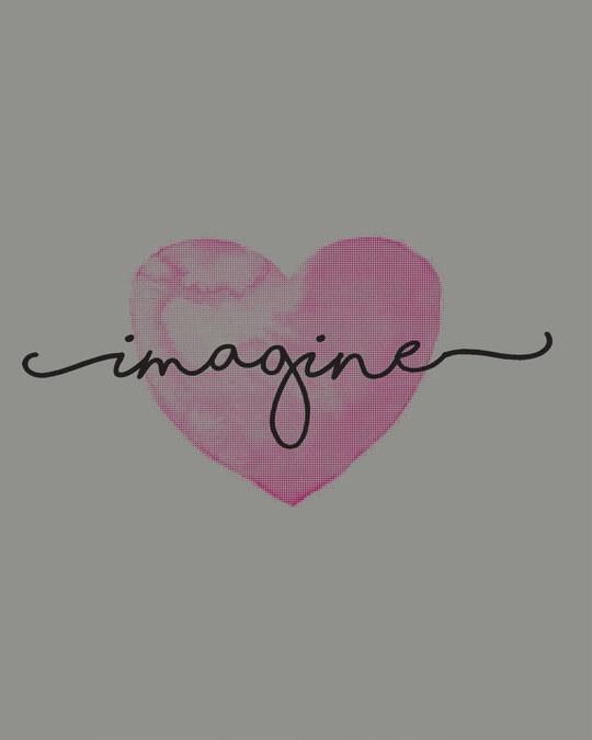 Shop Imagine Heart Boyfriend T-Shirt-Full