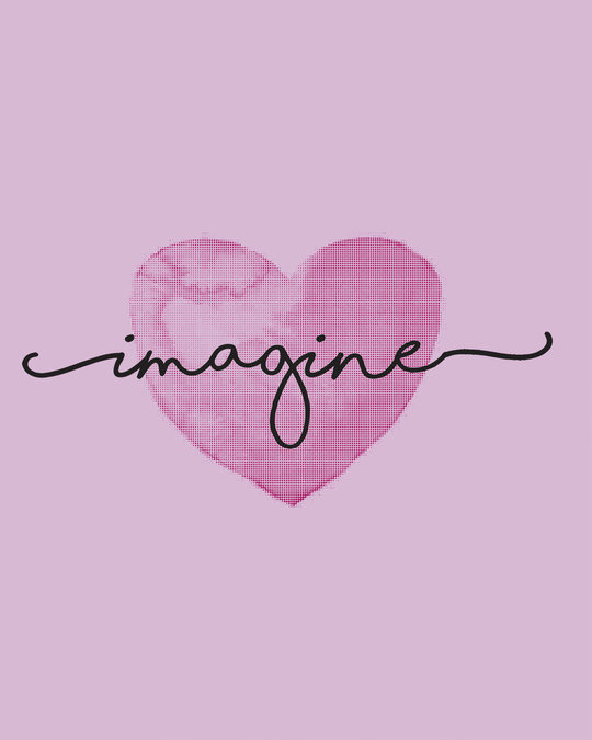 Shop Imagine Heart Round Neck 3/4th Sleeve T-Shirt