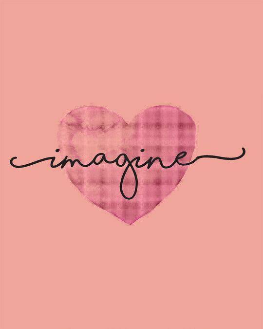 Shop Imagine Heart Half Sleeve T-shirt-Full