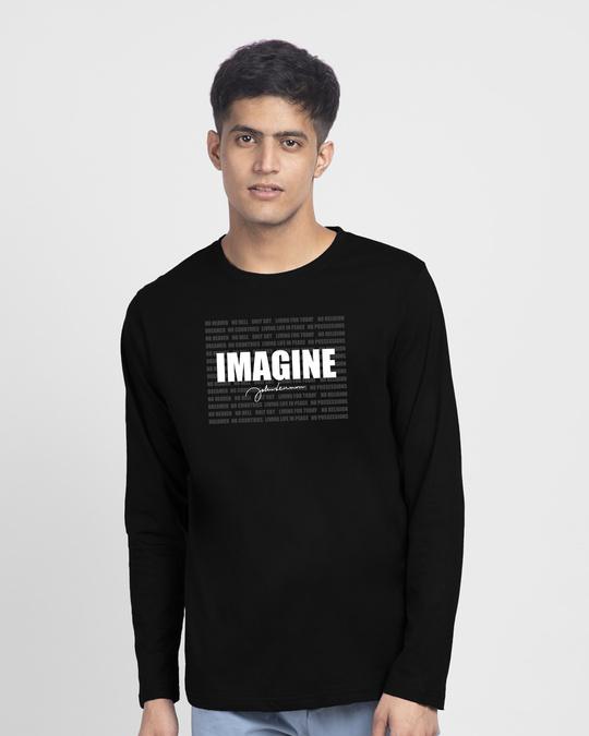 Shop Imagine Signature Full Sleeve T-Shirt Black-Front