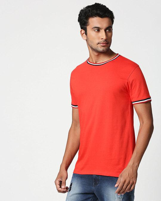 Shop Imperial Red Crewneck Varsity Rib Half Sleeves T-shirt-Back