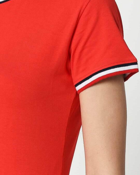 Shop Imperial Red Crewneck Varsity Rib Half Sleeves T-shirt