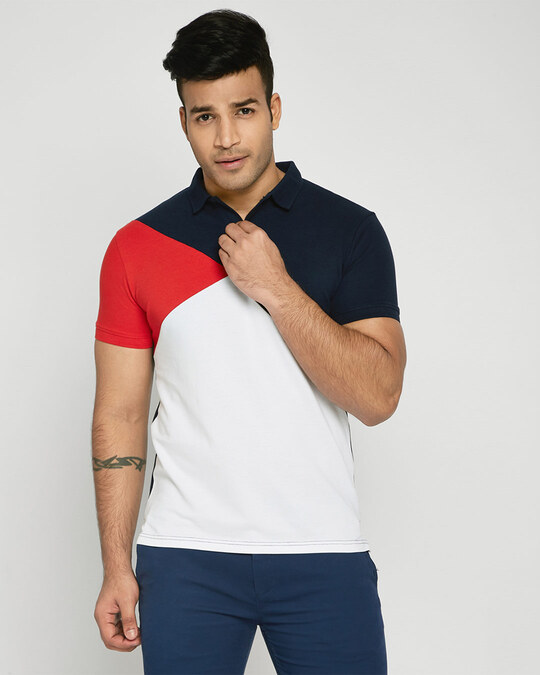 Shop Imperial Red-Dark Navy-White Asymmetric Polo T-Shirt-Front