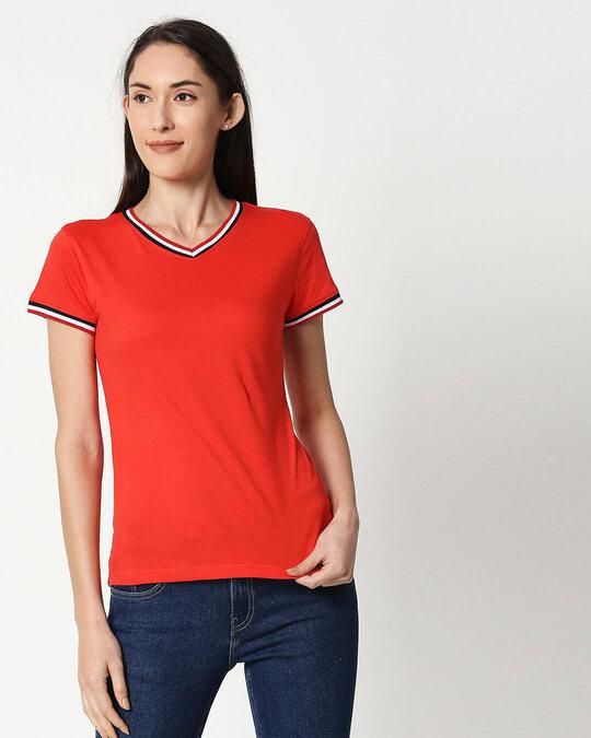 Shop Imperial Red V-Neck Varsity Rib T-shirt-Front